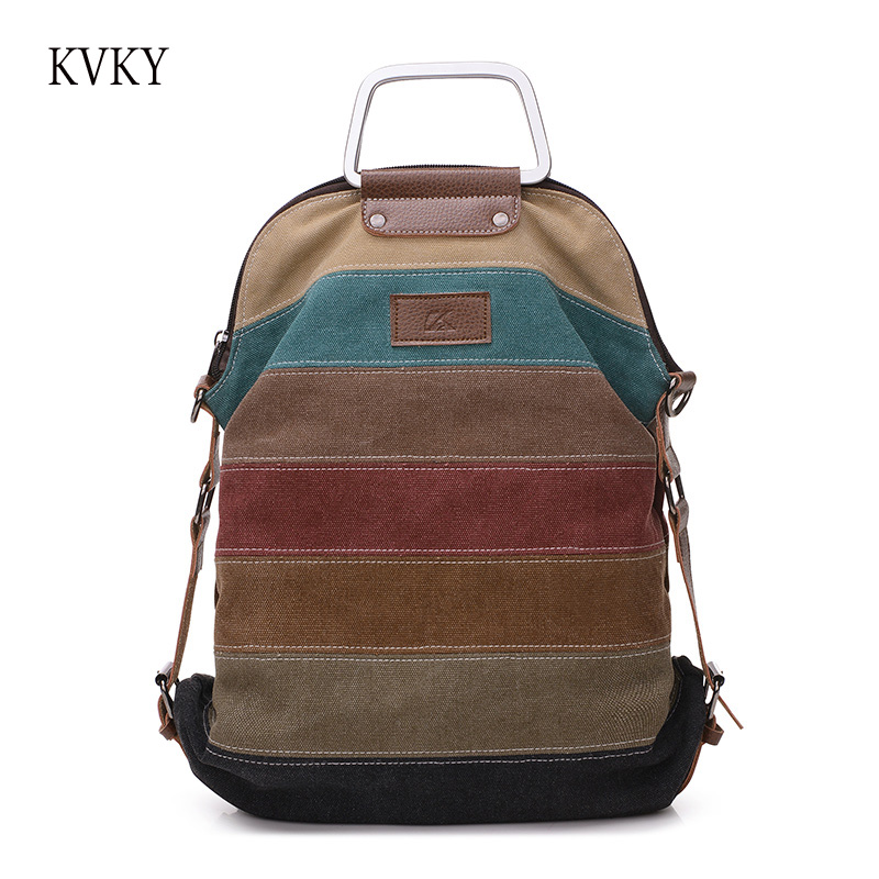KVKY Brand 2018 Casual Multifunction women fashion youth Patchwork style  Canvas shoulder bag Female HandBags Tote Crossbody Bag 53d18f4b59e7b