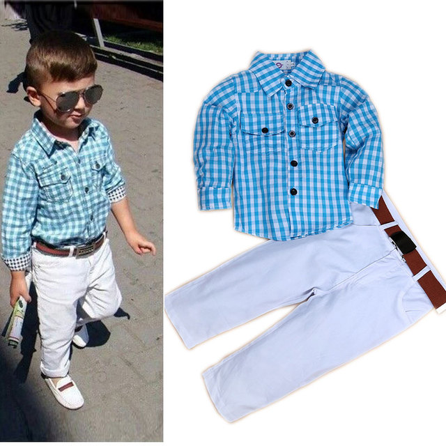 8ffc27838 Hot Sale Boys Boutique Formal Clothes Set Plaid Kids Outfits Boy Fashion  Clothes Sets Toddler Boys Clothing Children Outfits
