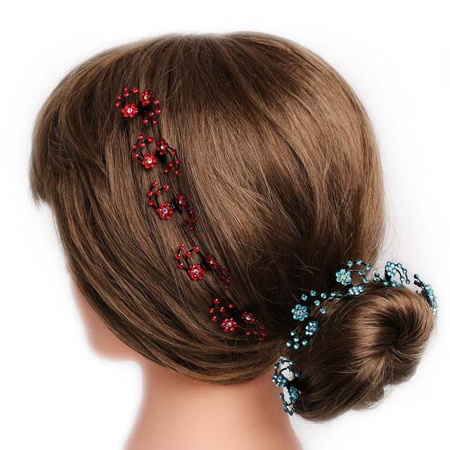 6Pcs/pack Wedding Bridal Hair Claws Women Mini Headwear Rhinestone Snowflake Hair Clips