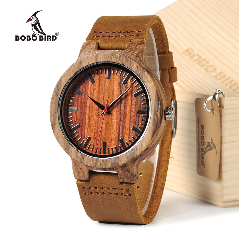 BOBO BIRD 100% Natural Design Wooden Wristwatch with Brown Genuine Leather Band Japan 2035 Move' Quartz Wood Watch as Gifts simple minimalism casual men quartz wristwatch number dial genuine leather band cost effective natural wooden design male watch