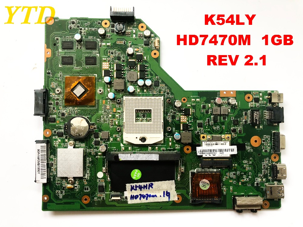 Original For ASUS K54LY Laptop Motherboard  K54LY  HD7470M  1GB  REV 2.1  Tested Good Free Shipping Connectors