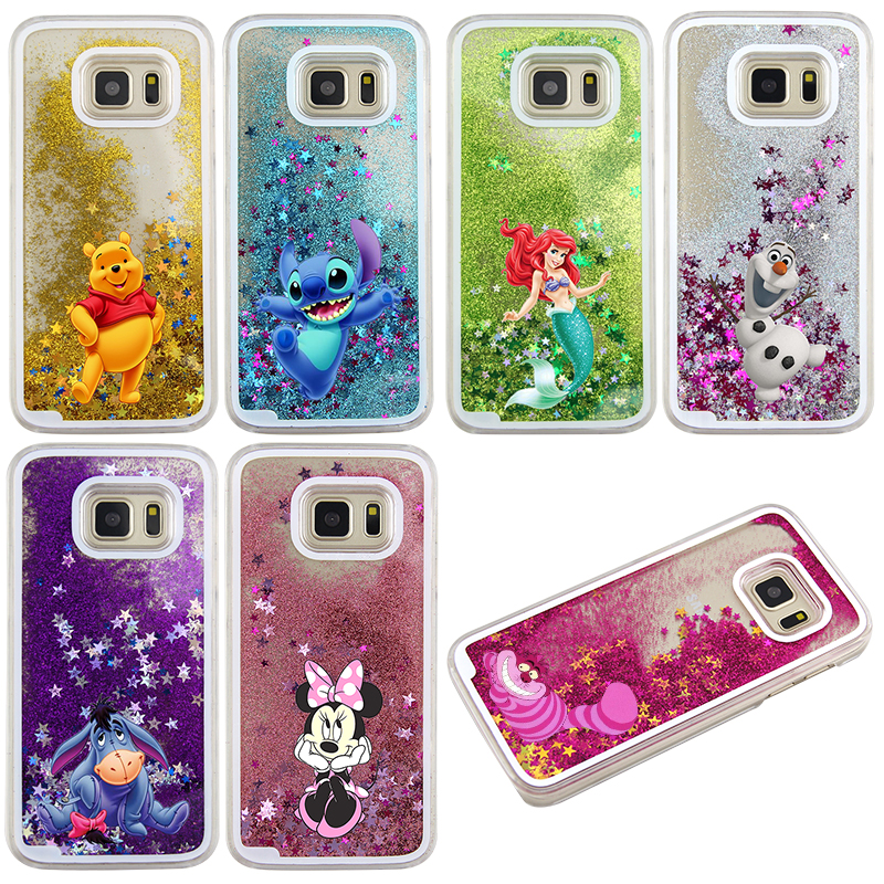 Para samsung galaxy s7 case lindo stitch mickey brillante liquid quicksand case