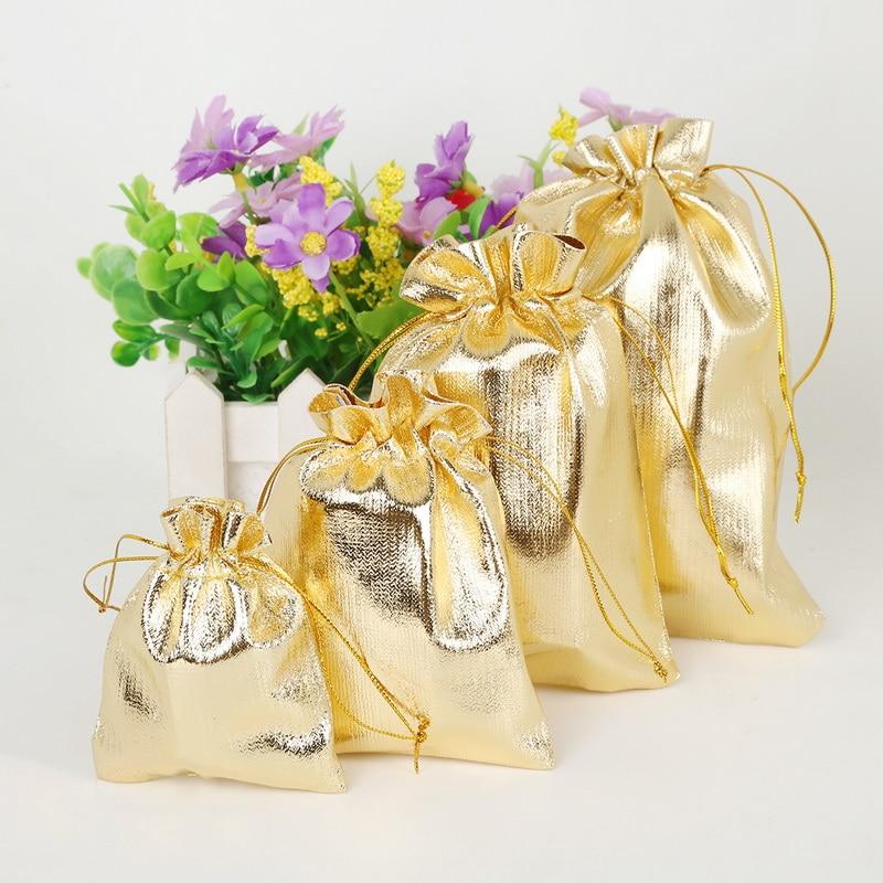 50pcs/bag 7x9 9x12 10x15cm 13x18cm Adjustable Jewelry Packing Gold Color Drawstring Velvet Bag ,Wedding Gift Bags & Pouches