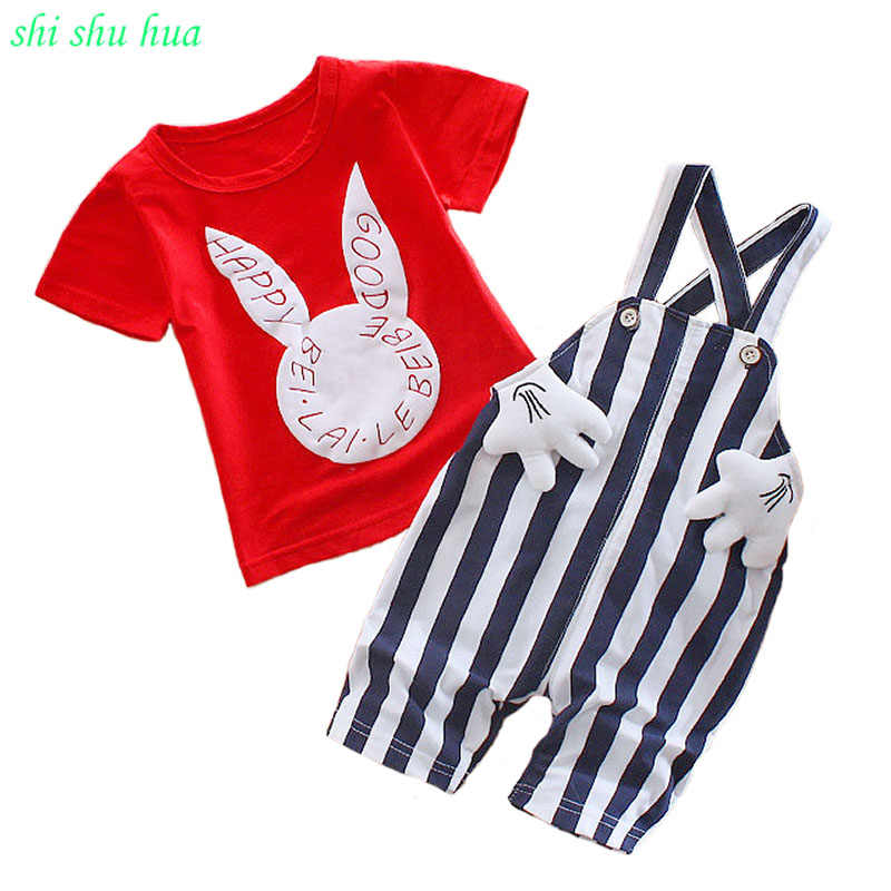 0facb5fa3 Children's clothing suits Fashion Korean girls summer short-sleeved T-shirt+ striped strap