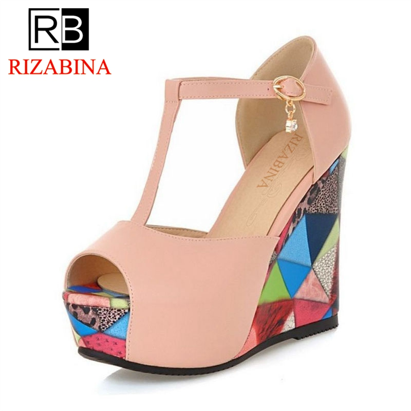 RizaBina Size 32-45 Women Wedges High Heels Sandals T Tied Mixed Color Shose Women Fashion Party Open Toe Office Footwear