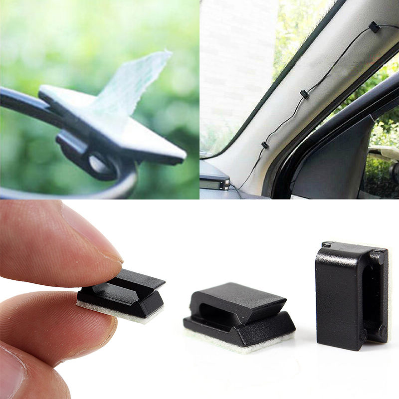 New Arrival 50pcs Car Drop Adhesive Cable Cord Holder Wire Clamp Management Clips 1.2 x 0.5cm Mayitr