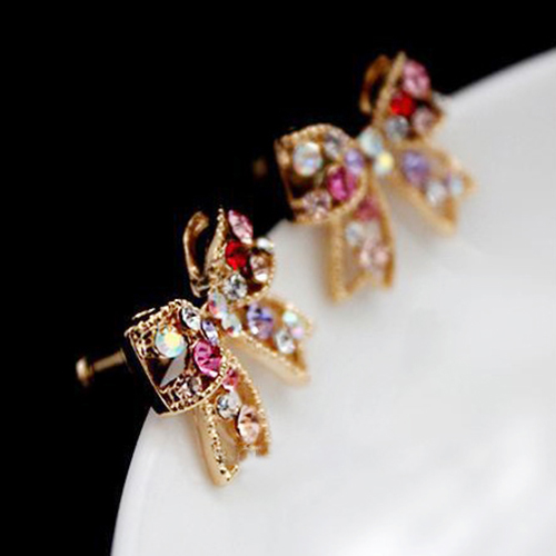 Для женщин Красочные Кристалл Золото Тон бантом уха Коты Шарм Серьги Jewelry A516