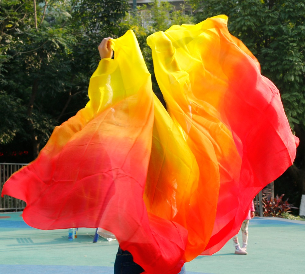 Belly Dance 100% Real Silk Veils Popular Gradient Color Silk Hand Scarf Shawls For Dancing OR Stage 2 Sizes