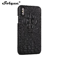 Solque Real Genuine Leather Case For IPhone 8 Luxury 3D Crocodile Pattern Retro Vintage Hard Shell