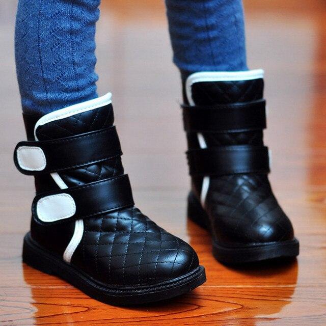 2015 новый зима дети обувь детей белые девушки черный большой мальчики загрузки обуви красной девочки малышей сапоги ботт Fille Hiver