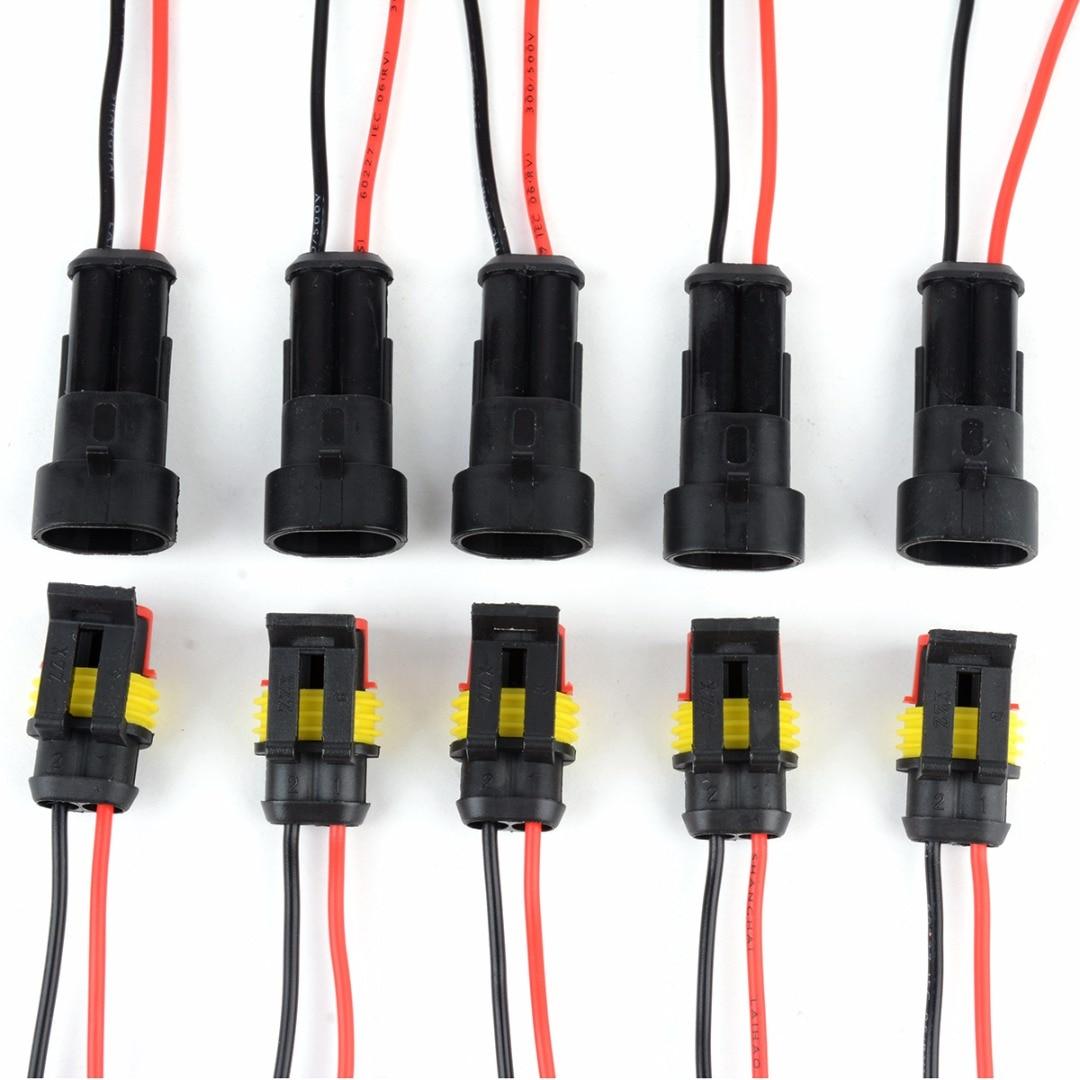 5 pares à prova dwaterproof água masculino feminino conectores elétricos plug 2-pin maneira com fio para motocicleta do carro scooter marinho mayitr