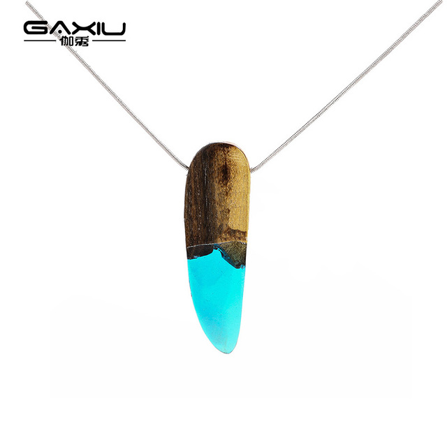 Nature resin wood necklace pendant fashion creative pendant for nature resin wood necklace pendant fashion creative pendant for women men jewelry anniversary gift wooden mozeypictures Choice Image