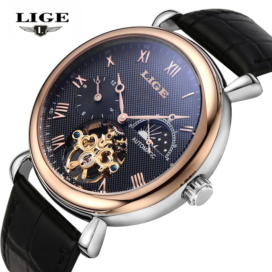 Mens Watches Top Brand Luxury LIGE 2016 Men Watch Sport Tourbillon Automatic Mechanical Leather Wristwatch Man relogio masculino mens watches top brand luxury lige 2017 men watch sport tourbillon automatic mechanical leather wristwatch relogio masculino