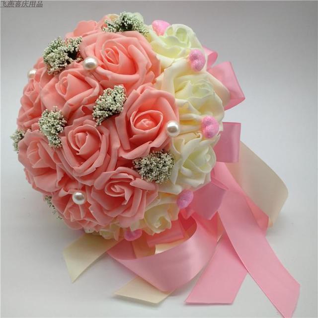 2017 Barato de La Boda/la Dama de honor Ramos de Flores Romántico Rosa y Marfil Nupcial Hecho A Mano ramo de la Rosa Artificial Ramo de mariage boda