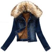 Classic Short Denim Jacket Autumn Winter Jacket Fur Collar Denim Female Coat Plus Size Outerwear Women Warm Jeans Jacket f368
