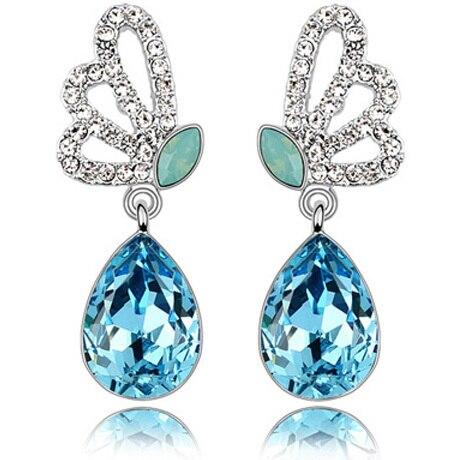 Aishion Brand Jewelry Fashion Shining Crystal Teardrop Silver Gold