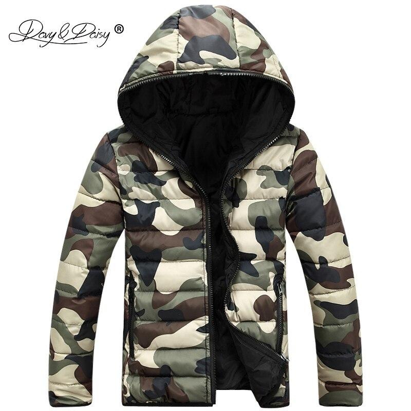 Davydaisy камуфляж Мужские парки зимние Для мужчин Куртки с капюшоном Теплый Сгущает модный бренд мужской пиджак Армейский зеленый пальто jk063