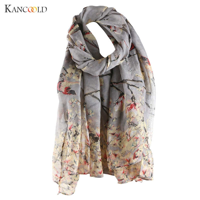 Cotton Floral Bird Printed Elegant Scarf