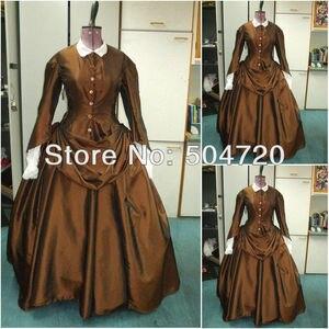 Freeshipping!1860s Romantic Brown Civil War Southern Belle Ball Gown Victorian/Scarlett Lolita dress US6-26 V-341