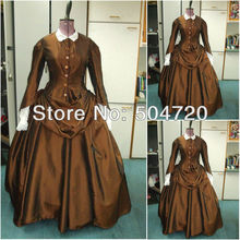 Freeshipping!1860s Romantic Brown Civil War Southern Belle Ball Gown Victorian/Scarlett Lolita dress US6-26 V-341
