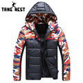 TANGNEST Patchwork Camouflage Hooded Men's Winter Coat 2017 Newest Parka Warm Hot Selling Asian Size Fashion Male Coat MWM1416