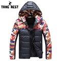 Tangnest patchwork camuflagem com capuz casaco de inverno dos homens 2017 mais recente casaco parka quente venda quente asiático tamanho moda masculina mwm1416