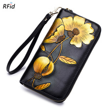 Wholesale New Women Wallets Genuine Leather High Quality Long Design Clutch Cowhide Wallet Fashion Female