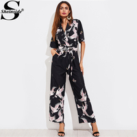 Sheinside Animal Prints Self Tie Box Pleated Wide Leg Shirt Jumpsuit 2017 Womens V neck Short Sleeve Belt Work Jumpsuit