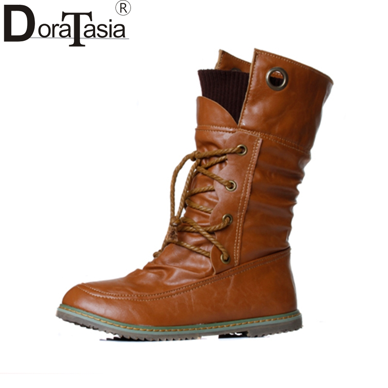 DoraTasia Big size 34-43 Women Half Knee High Boots Vintage Flat Heels  Warm Winter Fur Shoes Round Toe Platform Snow Boots karinluna women half knee snow boots rubber sole round toe platform warm fur shoes winter ladies footwear bootas mujer