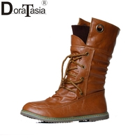 Big Size 34 43 Women Half Knee High Boots Vintage Flats Heels Lace Up Warm Winter