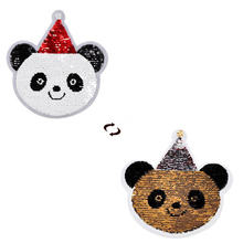 Shinequin Рождественская шапка панда флип двусторонние нашивки