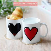 TranshomeCreative Heart Magic Temperature Changing Cup Color Chameleon Mugs Heat Sensitive Cup Coffee Tea Milk Mug Novelty Gifts