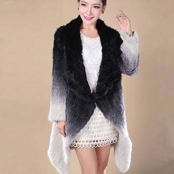 EMS FREE SHIPPING. 100% Real Knitted Rabbit Fur Coat , Natural Rabbit  Fur Long Coat Gradient Color No. SU-1312 1