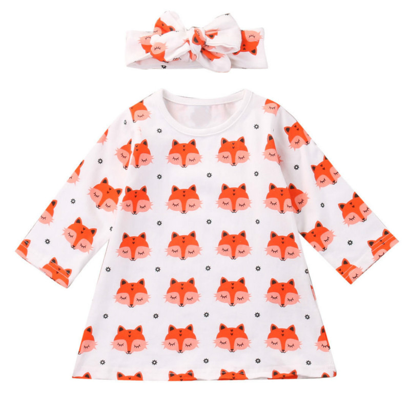 Adorable Fox Hot Sale Toddler Newborn Baby Girls Long Sleeve Tops Straight Dress Headband Cotton Clothes Outfits 2pcs Lovely Set