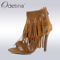 Odetina 2017 Summer Faux Suede Women Tassel Gladiator Sandal Back Zipper Stiletto Super High Heel Sandals
