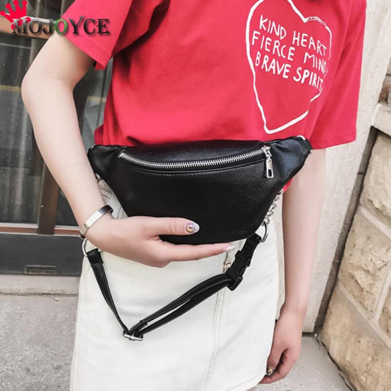 2018 PU Leder Fanny Taille Pack Frauen Schulter Brust Bauch Gürtel Handtaschen Weibliche Crossbody Handtasche Fanny Pack Bum Tasche Sac banane