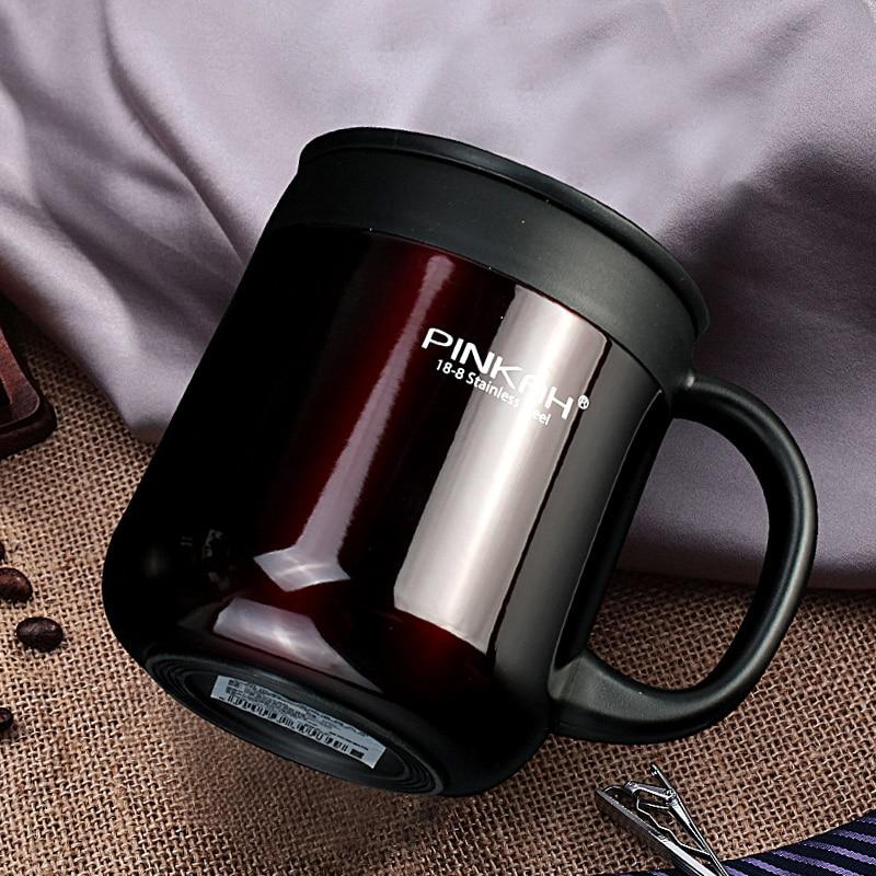 Termos de acero inoxidable Pinkah 304 ml 400 tazas taza de oficina con mango con tapa taza de té aislado termo taza de oficina