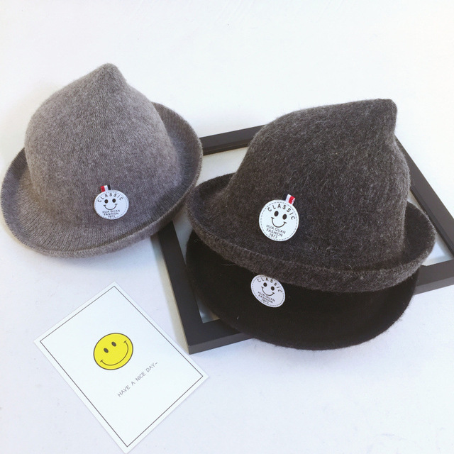 2b24d057 100% Wool Baby Boys Fedora hat Dome cap Children dress hats Kids caps felt  hats wool felting Bowler hat