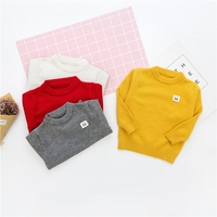 New Autumn Baby Boys Solid Long Sleeve O Neck Knitwear Sweater Kids Girls Smiling Face Casual