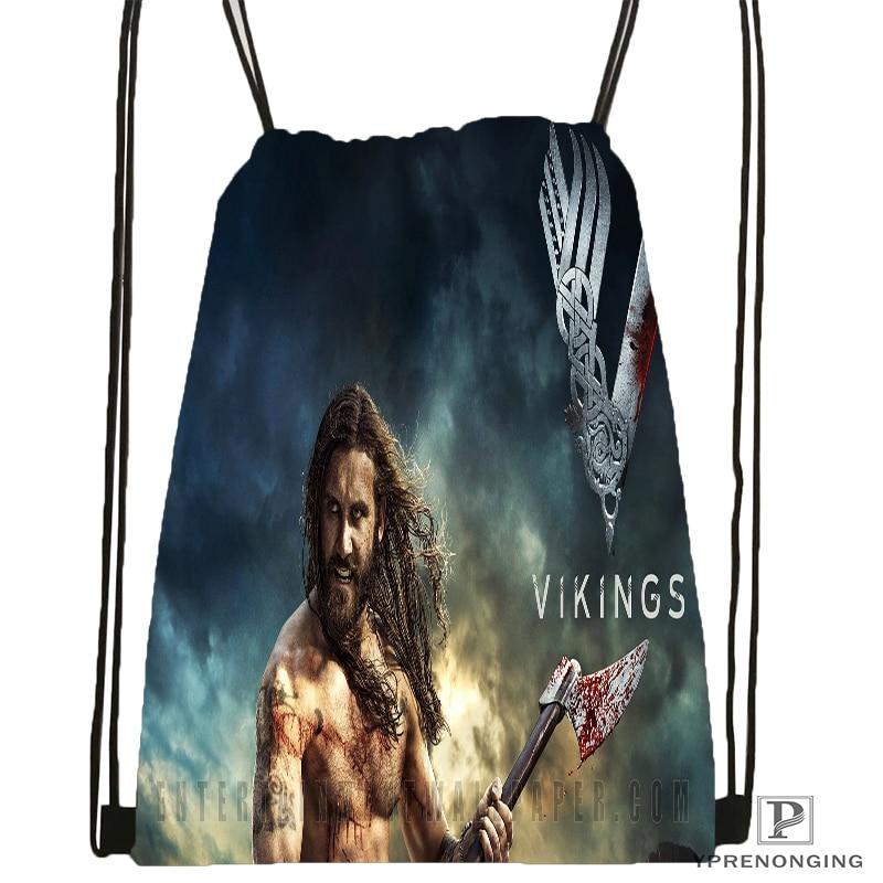 Custom Viking Raider Drawstring Backpack Bag For Man Woman Cute Daypack Kids Satchel (Black Back) 31x40cm#180531-01-34