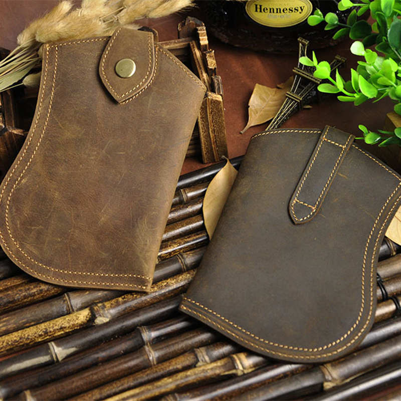 New Men's Hip Bum Belt Fanny Bags Cell Phone Case Purse Natural Genuine Leather Vintage Male Crazy Horse Cowhide Waist Pack Bag