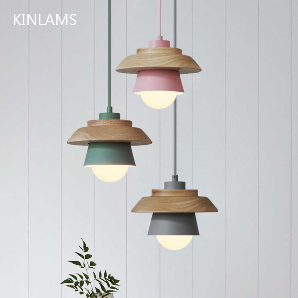 Colorful Lampu Liontin Macaron Nordic Kayu Pendant Pengkilap Lampu Art Deco Ruang Tamu Suspensi Hanglamp Luminer Lamparas