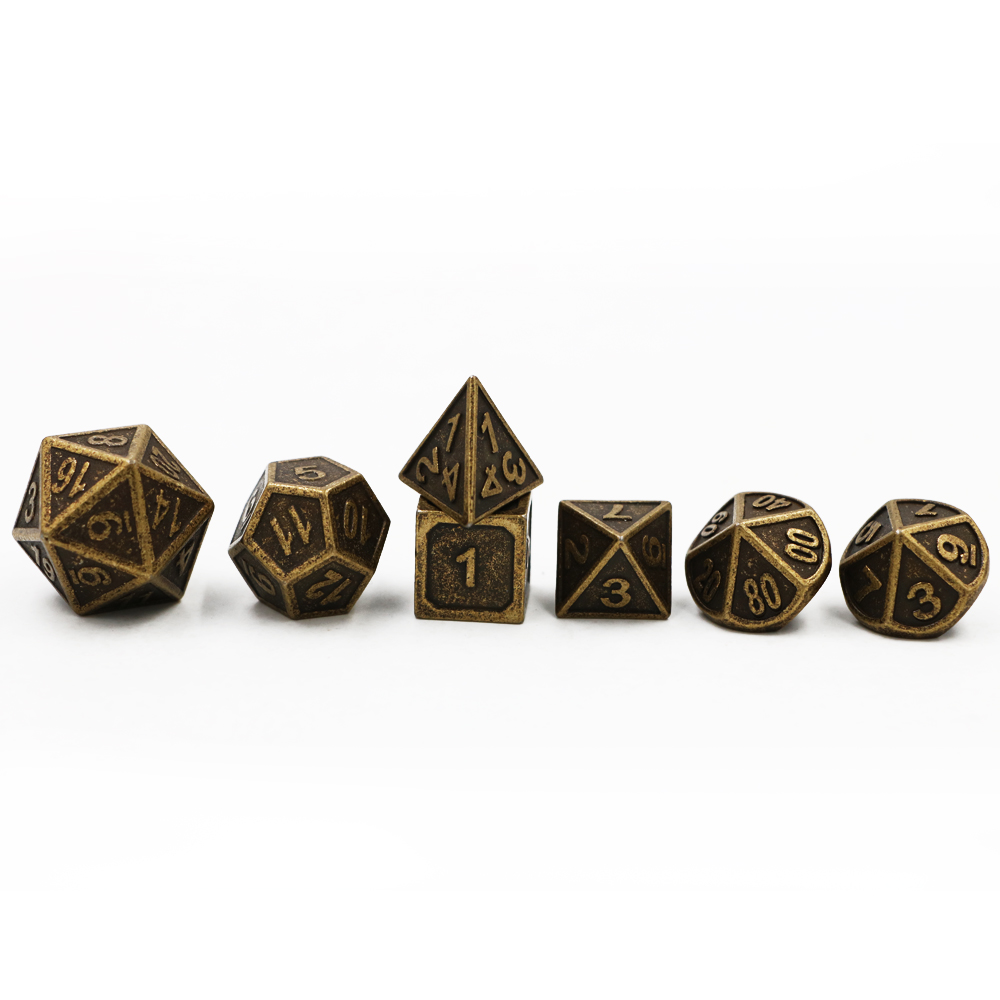 Dungeons & Dragons 7pcs/set Classic RPG Dice D&D Metal Dice DND Game Dice Different Color Bronze Copper Carving Numbers 7pcs set the call of foreign trade new product cthulhu dnd dice black green word dnd dice