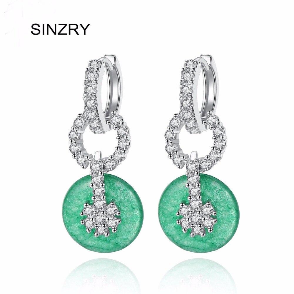 SINZRY Marque Élégant Bijoux Imitation Vert pierre Cercle Boucles D'oreilles Pour Les Femmes Parti Bijoux de mariage Accessoires