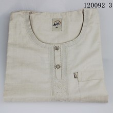 Mens kaftan Summer Islamic clothing men TR Cotton and linen Round neck Embroidered Muslim Short sleeve Men's robes