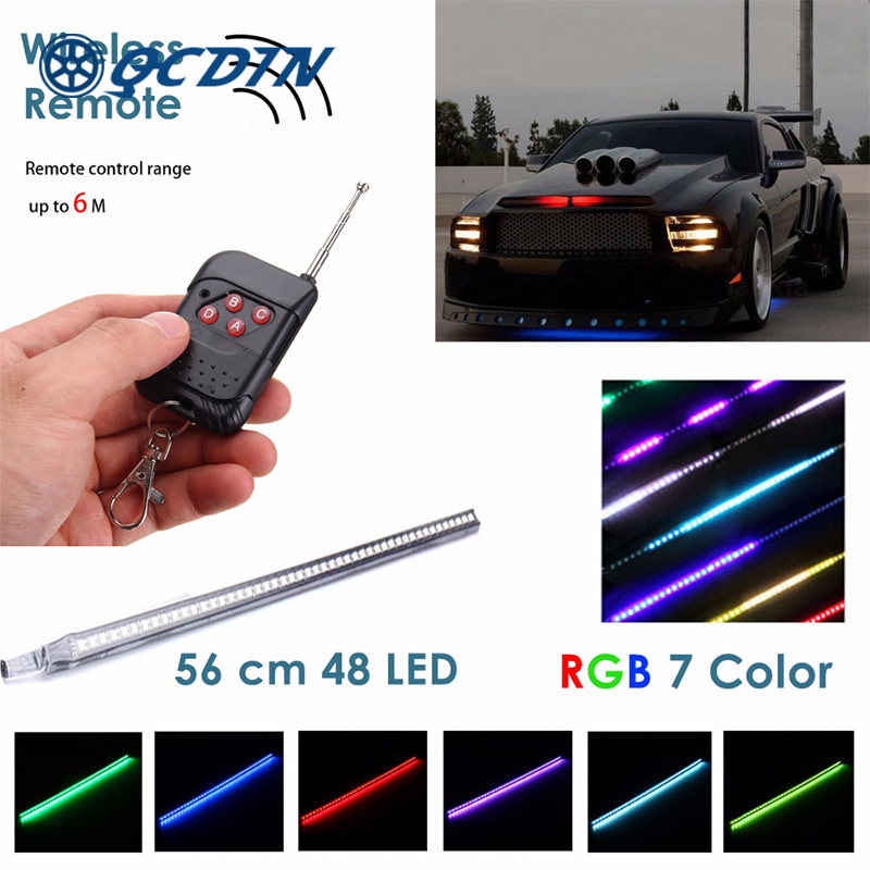 1 SAet 48 SMD 60cm RGB LED Knight Rider Scanner Light Bar Scanner Strip Kit With Wireless Remote Control For Mustang