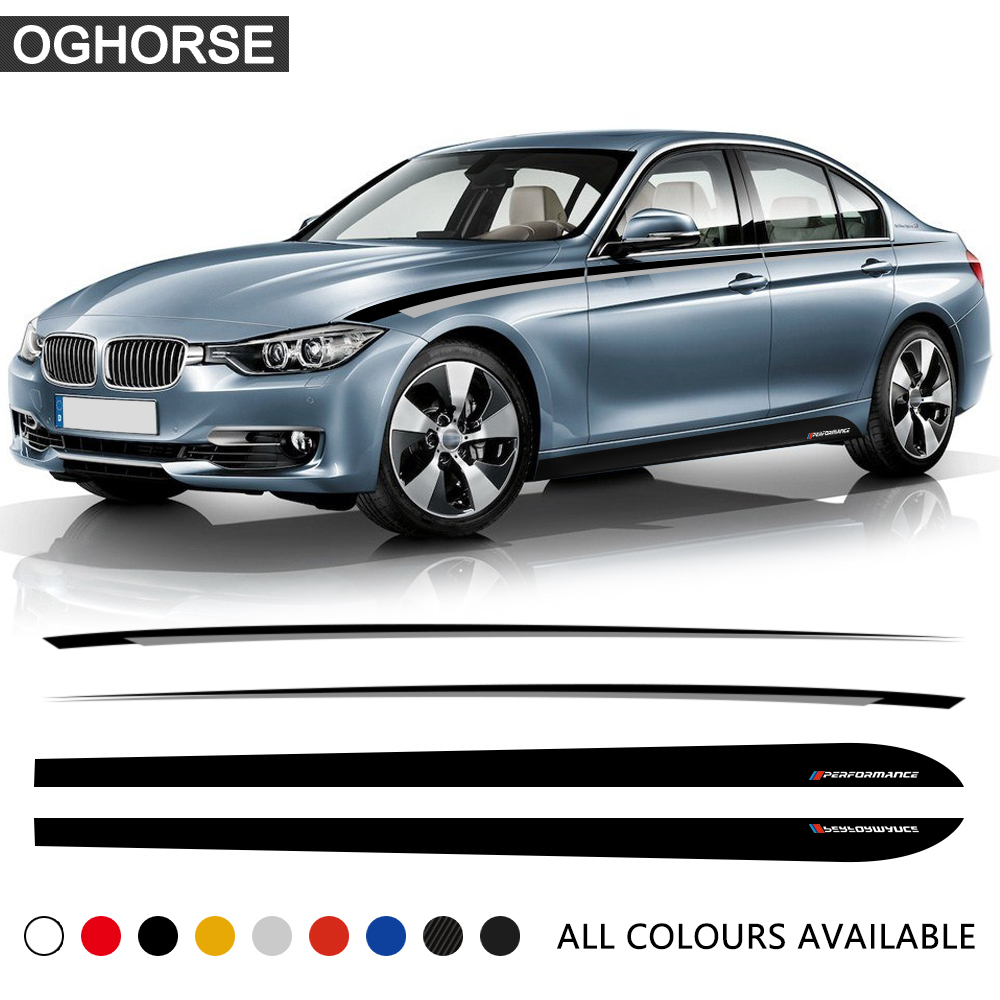Car Door Side Stripe Skirt Sticker Black Silver Waist Line Body Decal M Performance for BMW 3 Series F30 F31 320i 328i 330i 320d in Car Stickers from Automobiles Motorcycles