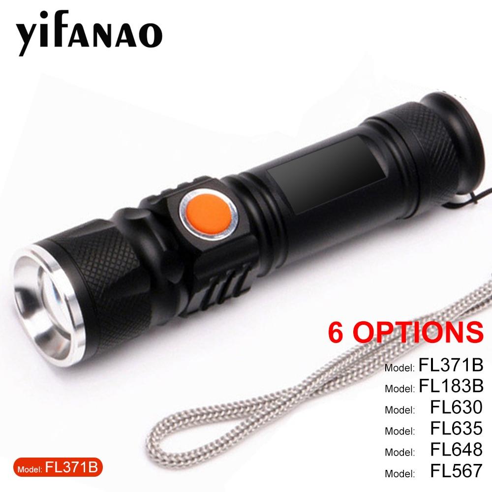 COB LED Flashlight Built-in Battery Mini Torch USB Lamp Zoom Rechargeable XPE+COB Muti Modes Flashlights White Portable Light