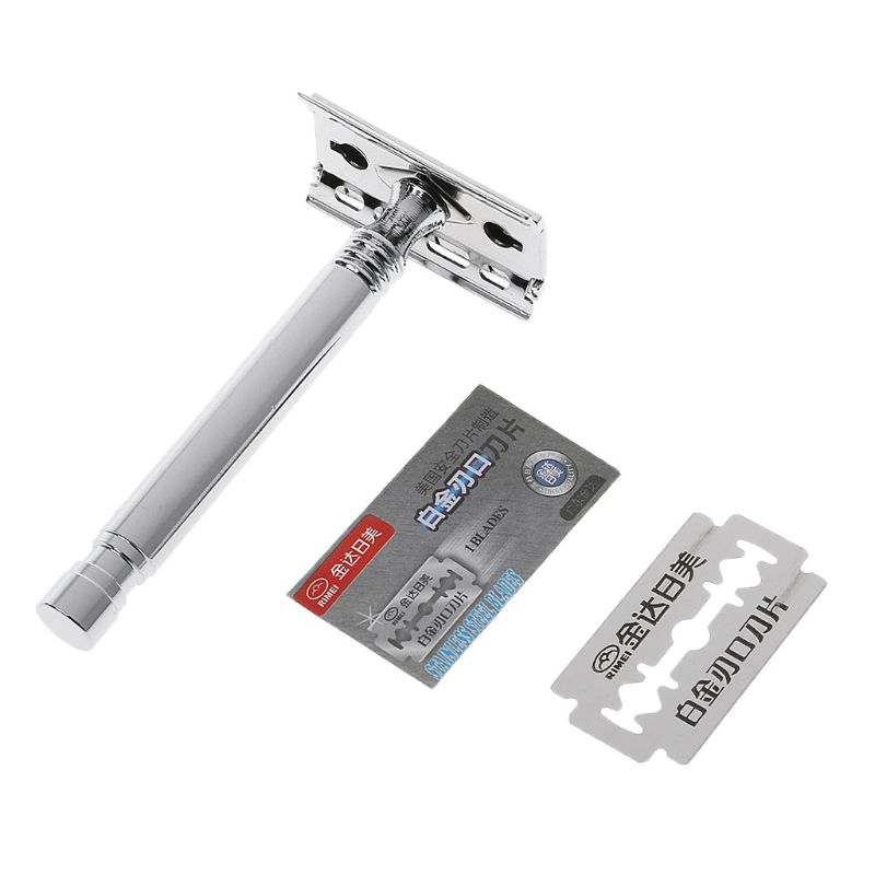 1 Set Safety Manual Razor Double Edge Blade Replacement Men Beard Trimming Facial Hair Mustache Remove Home Accessory