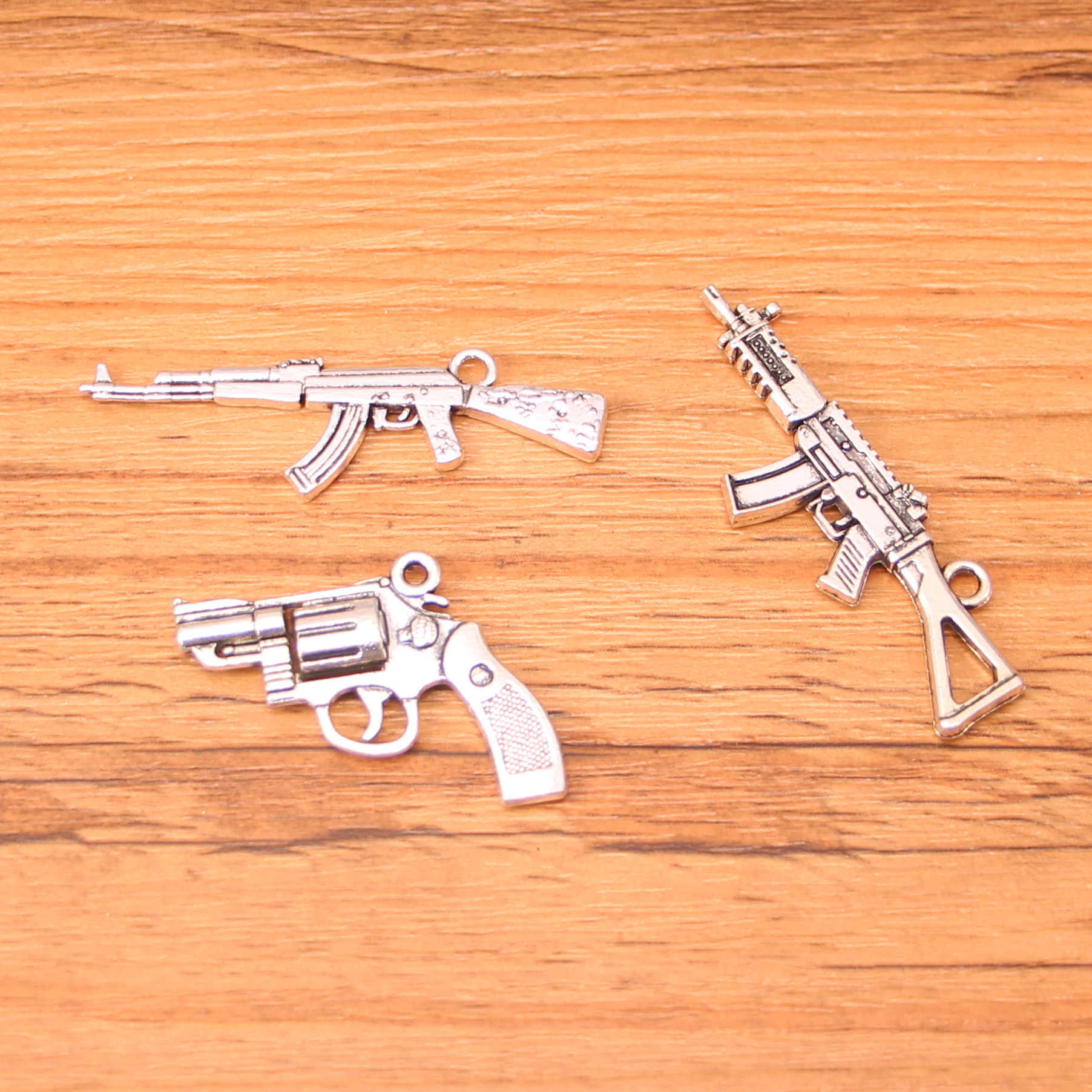 Antieke zilveren pistool machinepistool sniper rifle gun Vuurwapens Charms DIY Hanger Armband Ketting Oorbel Voor Sieraden Maken